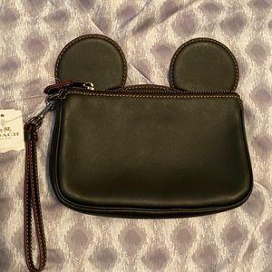 Coach Disney Black Mickey Mouse Ears Wristlet